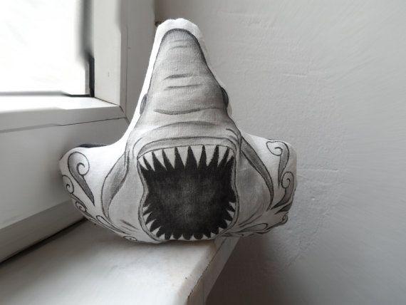Shark Pillow Handpainted Shark soft scultpure by ShebboDesign  #sharkpillow #sharkweek #cute