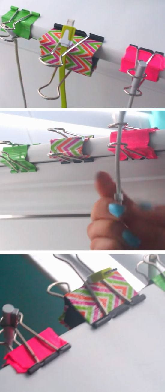Use Clips as Cord Tidies | 18 DIY Dorm Room Organization Hacks for Teens that will keep you super tidy!