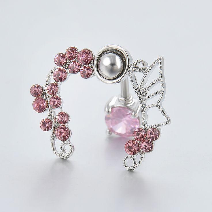New Stainless Steel Pink Buttlerfly Zircon Rhinestone Crystal Belly Button Ring Tassel Dangle Navel Body Jewelry Piercings