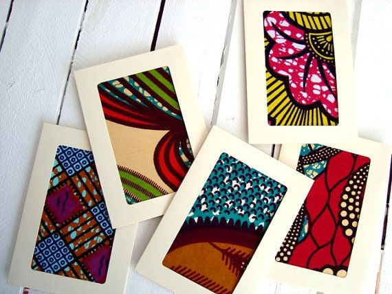 African wax print card set with envelopes x 5 door ChilliPeppa
