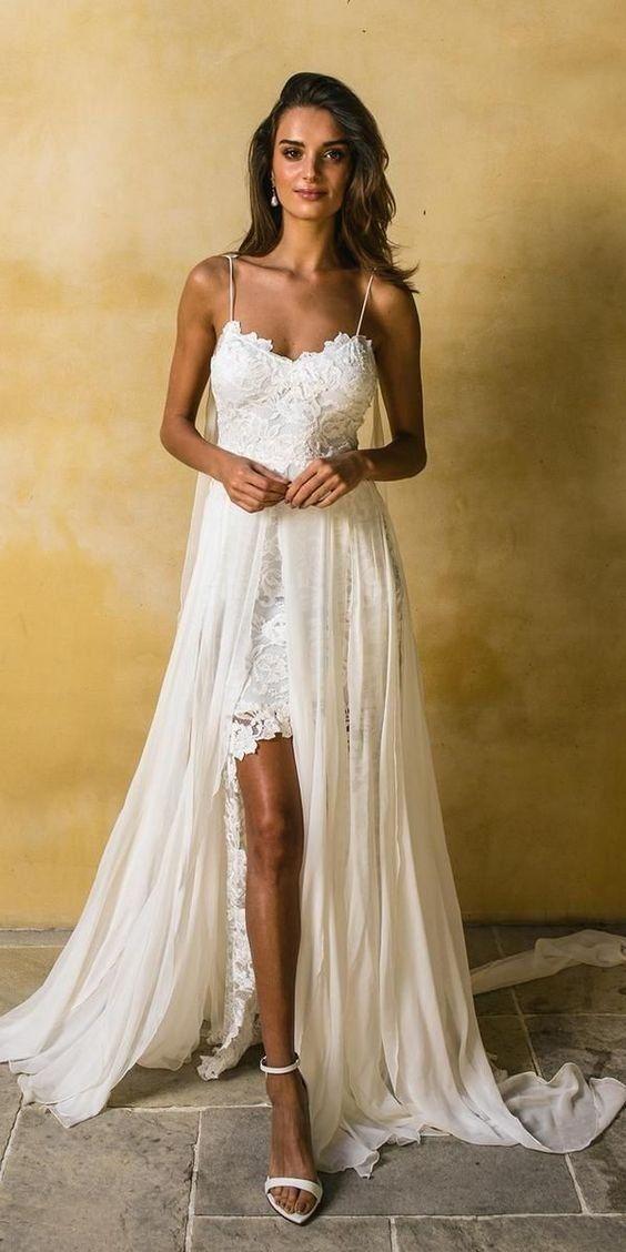 5a8412a90b White Chiffon with Lace Appliqued Spaghetti Strap Beach Wedding Dress -  SheerGirl