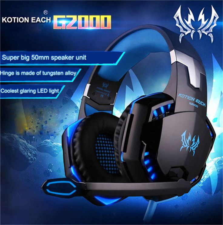 Gaming Headset Quality Headphones with Mic LED Light