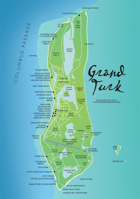 A map of Grand Turk in the Turks and Caicos Islands #TurksandCaicosmap