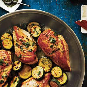 Sauteed Chicken and Zucchini with Parsley Chervil Pan Sauce
