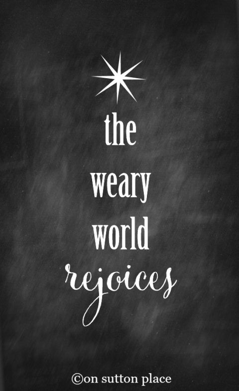 The Weary World Rejoices Free Chalkboard Printable | Use for easy DIY wall art, cards, crafts, screensavers and more!