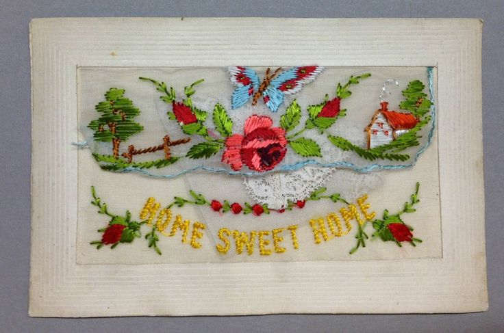 """WW1 Silk Postcard """"Home Sweet Home"""" roses and butterfly and cottage with lace hanky insert."""