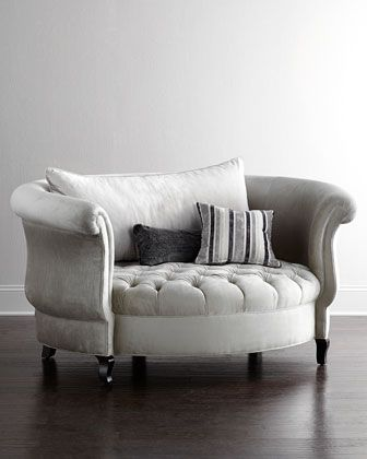 Love this victorian chair with the pin cushion bottom. This chair is big enough to snuggle!