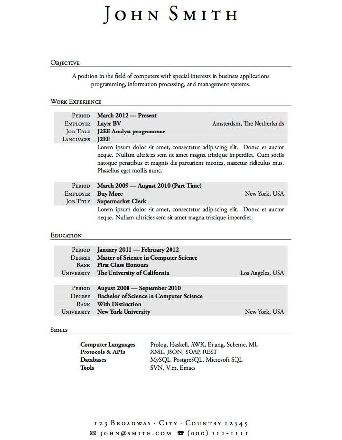 Work Experience Resume Template Resume Templates For College