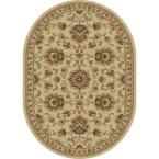 Sensation Ivory 5 ft. 3 in. x 7 ft. 3 in. Oval Traditional Area Rug