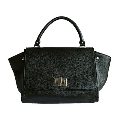 Designer Style Origami Black Leather Handbag (Large Size) - Down to £64.99 from £94.99