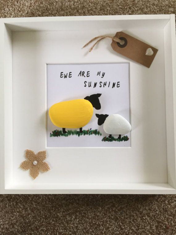 Pebble art Ewe' are my sunshine sheep pebble by MoonlightgiftsShop