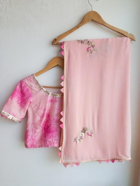 2f09b0d389cfbb Light Pink Gota Patti Saree with Shibori Blouse - LabelKanupriya Www. labelkanupriya.com