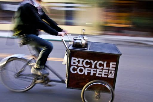 a coffee bike for small spaces, fast paces, and indeed, I wonder what's inside...