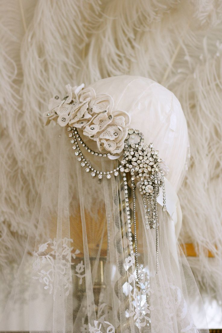 Sheelin Antique Lace Shop Lace & Diamante Headpiece.I would love to wear this headpiece for an anniversary