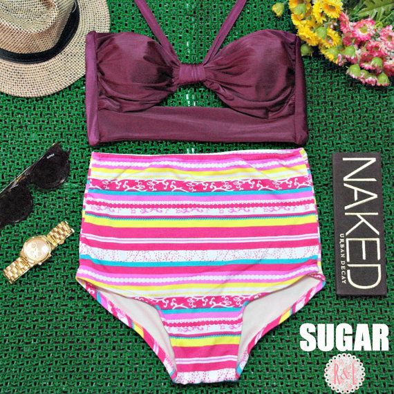 Sugar - Retro Vintage Pin Up Handmade Dark Purple Pink Abstract Stripes Cut Out Bandeau High Waist Bikini Swimsuit Swimwear