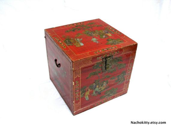 Asian Storage Box Table Sized Antique Decorated by Nachokitty, $275.00 Found in the deep 2 story basement under a San Francisco Victorian. The basement was hand dug out.