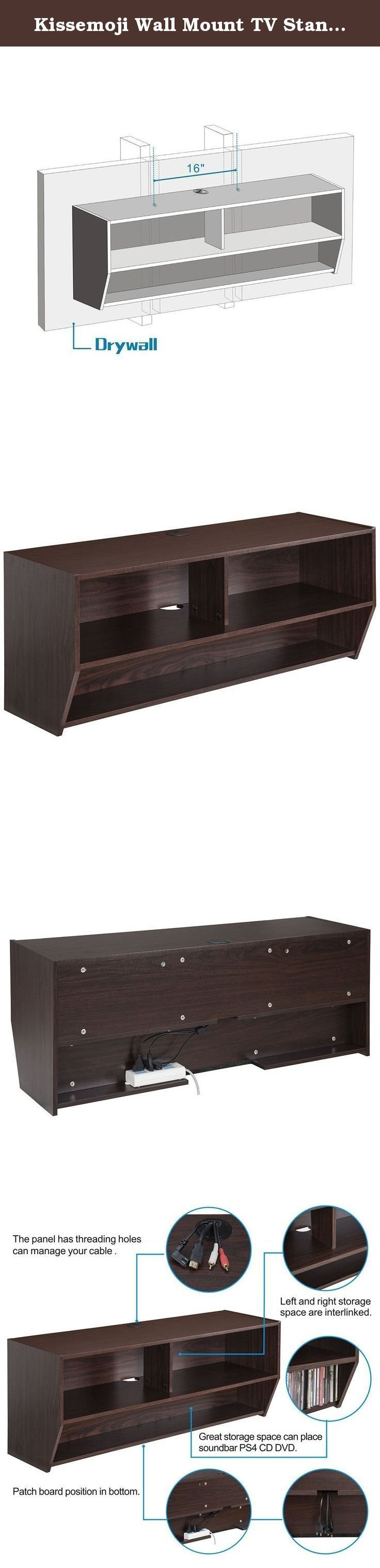 Kissemoji Wall Mount TV Stand Media Console Floating TV Shelf Shelves. Specification: Modern, space-saving design Supports a maximum of 55/33/22lbs for shelf Walnut grain and brown MDF covered Cables neatly concealed for professional quality installation The shelf below can place sound bar, xbox one, PS4 DVD, VCD,Blu-Ray Discs/CDs or DVD's The lower shelf can place wiring board to hide the messy cable Don't be hung on metal wall or slat wall Product…