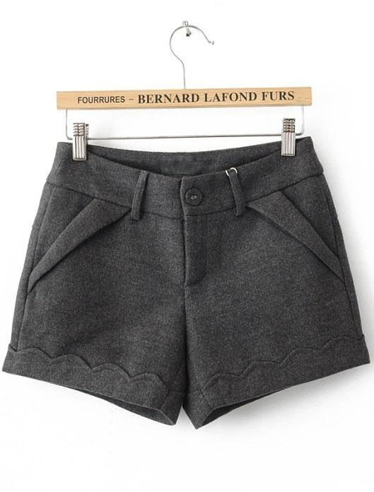 Grey Button Fly Flange Embellished Shorts $29.76 @SheInside