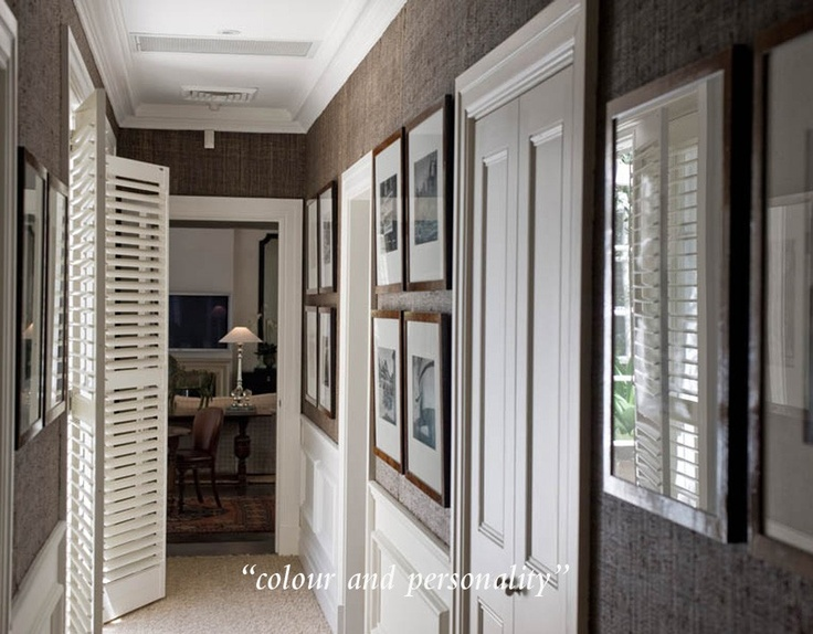 Shutters, gallery picture display and Grass cloth wallpaper - oh where to pin??