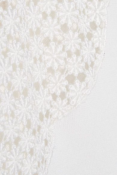 Giambattista Valli - Lace-paneled Stretch-cady Mini Dress - White - IT