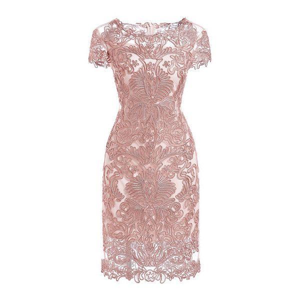 SheIn(sheinside) Pink Round Neck Short Sleeve Bodycon Lace Dress
