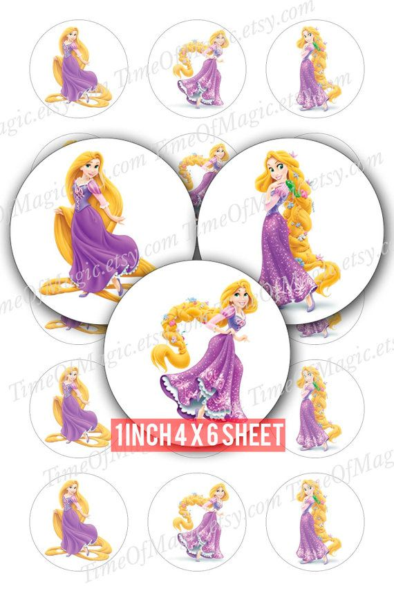 "Digital Collage foglio Principessa Rapunzel Disney 1"" pollice 25mm Bottlecap Download immagine stampabile per ciondoli magneti partito"