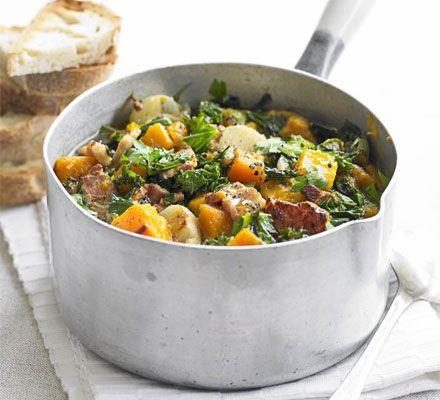 Kale, pumpkin & bacon pot. 225 kcalories