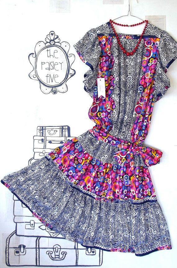 Vintage 80's Women's DRESS . size 16 (us 12) frills and ruffles prints and colour geometric pattern . australian wandarrah oz au etsyau