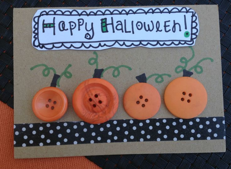 black and white dotted washi tape kraft card base 4 orange buttons and some sharpie markers are all you need to create this cute halloween card - Photo Halloween Cards