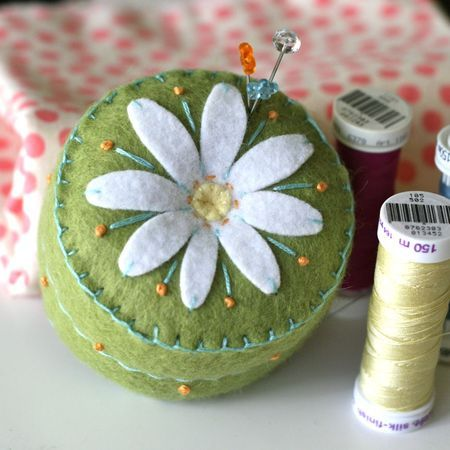 Felted pincushion -- Clarissa