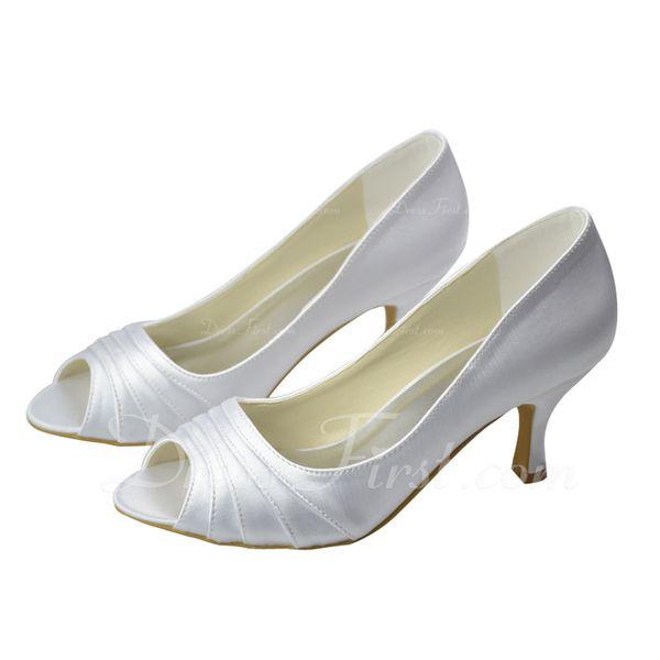 Kvinder Kigge Tå sandaler Lav Hæl Satin Bryllupssko
