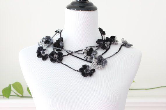 Crochet Black Gray Lariat Necklace Scarf by MadeByFlower on Etsy