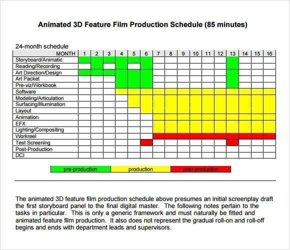 Shooting Schedule Template 5 Schedule Templates