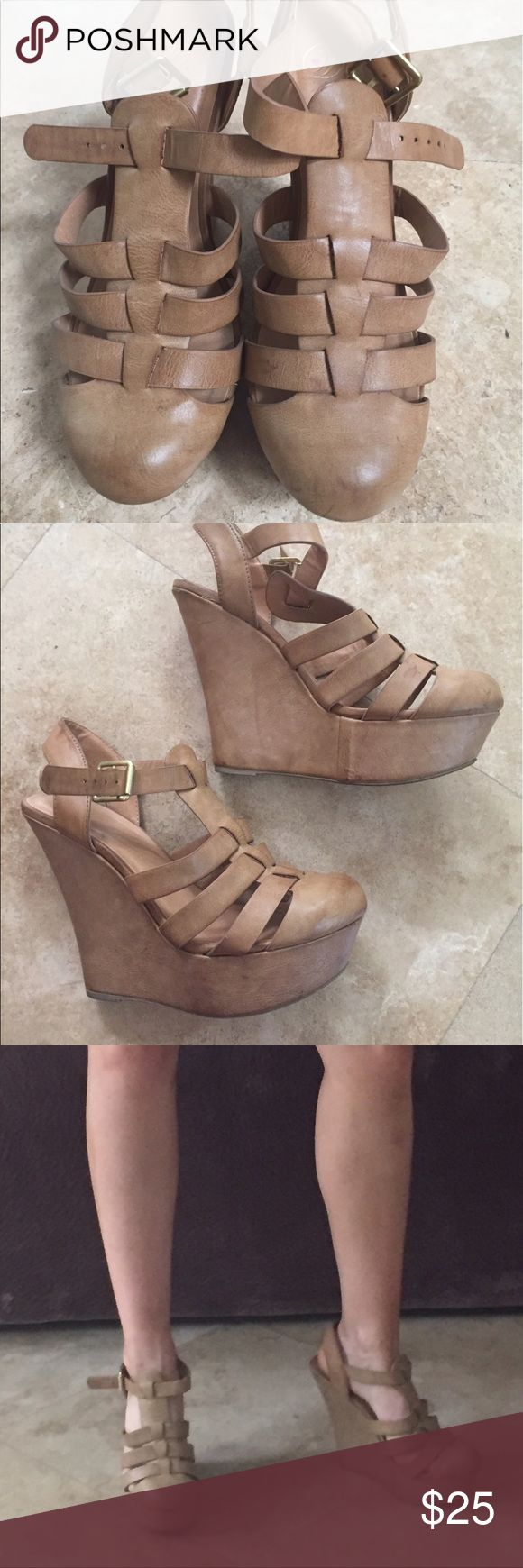 Nude/beige closed toe wedges Nude/beige closed toed wedges worn a few times still in pretty good condition size 9 from some shoe boutique store doesn't exist anymore Windsor Shoes Wedges