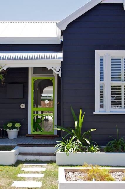 Exterior Dulux colours - Black Fox & Effervescent Lime ( door )