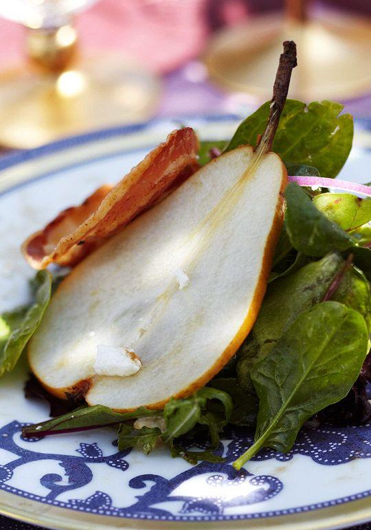 elegant pear, pancetta, and feta salad with pomegranate dressing.....