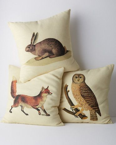Woodland Animal Pillow Cover on couches, mixed w/ solid mossy green pillows