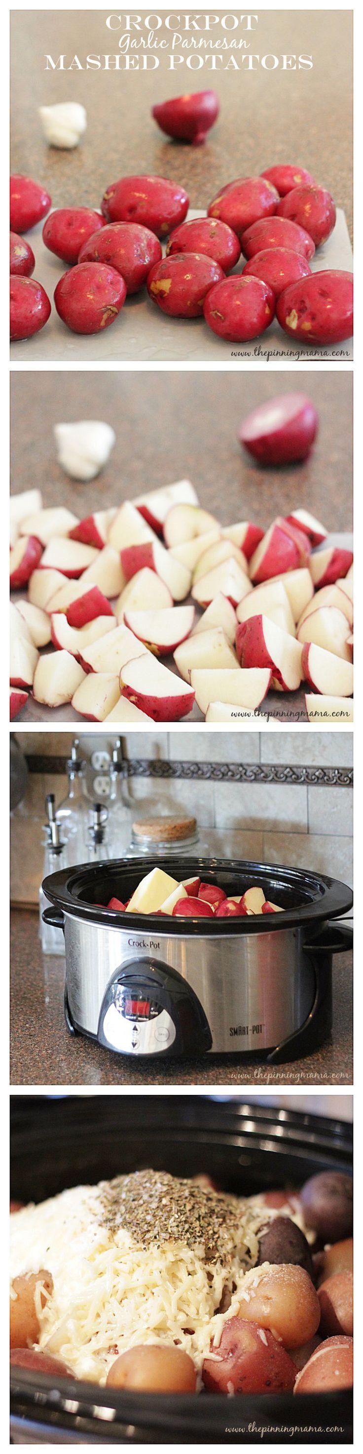 Crock Pot Garlic Parmesan Mashed Potatoes- an easy side!