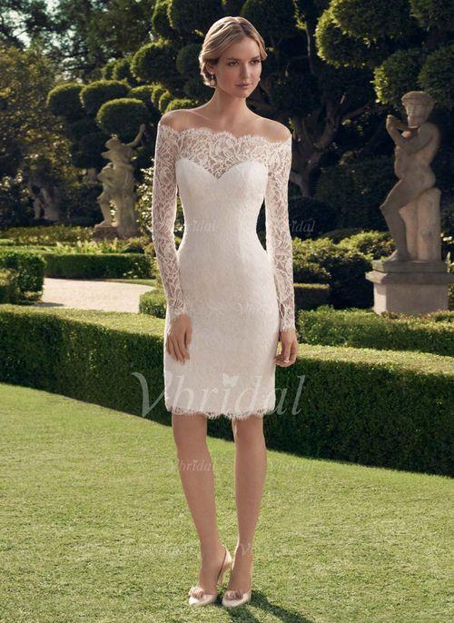 Robes de mariée - $130.99 - Forme Fourreau Epaules nues Court/Mini Dentelle Robe de mariée avec Motifs appliqués Dentelle (00205003284)