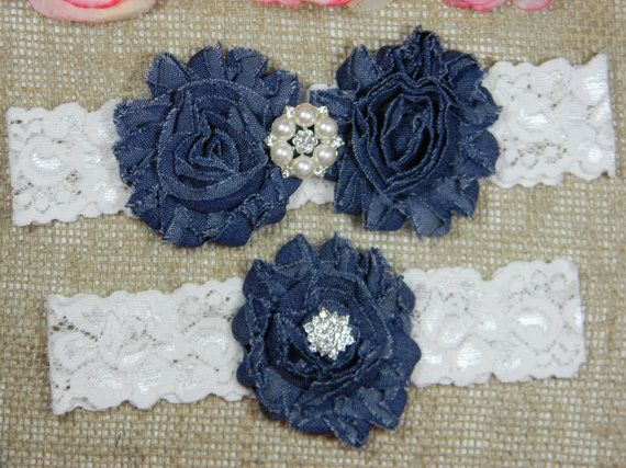 Denim Wedding Garter Set, Bridal Garter, Pearl and Crystal Rhinestone Garter and…