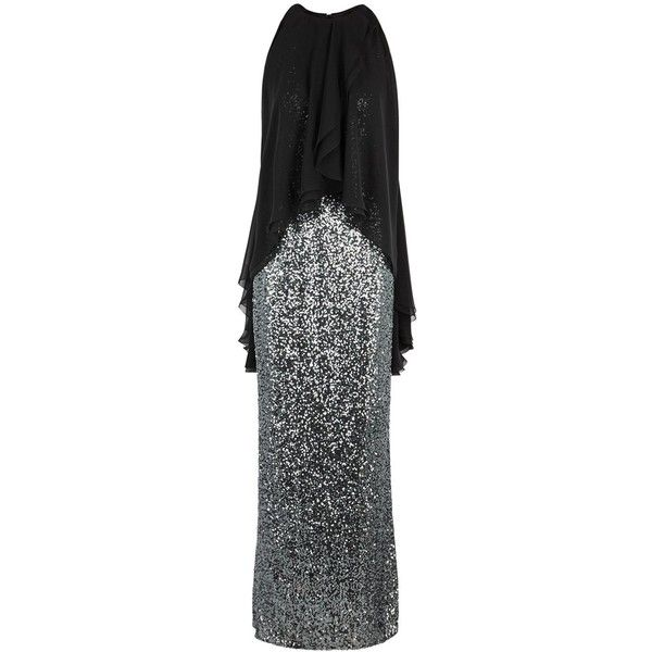 Talbot Runhof Morave Silver Sequinned Gown - Size 16 (16.555 DKK) ❤ liked on Polyvore featuring dresses, gowns, sequin ball gown, talbot runhof dresses, sequin dress, silver sequin dress and silver sequin evening gown