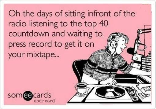 Oh yes, I spent all weekend making my mixed tapes.  would wait for hours to get my favourite songs from Wham, pheudo echo, madonna, bananarama, pet shop boys.........