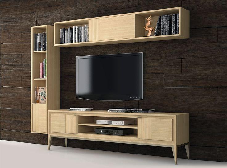 conjunto de saln de cm formado por mueble tv estantera horizontal con