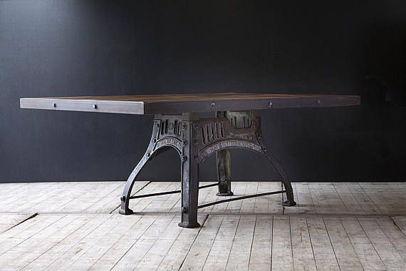 Industrial Dining Table With Original Cast Iron Base    photo 1