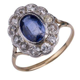Victoriaanse ring met diamant en saffier