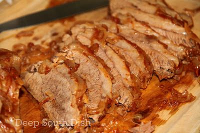 Atlanta Brisket- this brisket marinates overnight in chili sauce, Classic Coca Cola and onion soup mix. The recipe comes from Joan Nathan, a television cooking show host from many years ago...