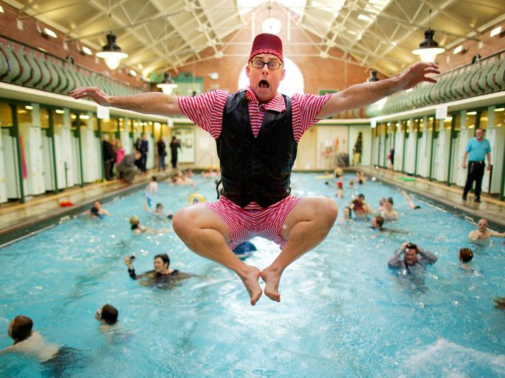 Bramley Baths. Peter White, a New Year's Day bather in fancy dress