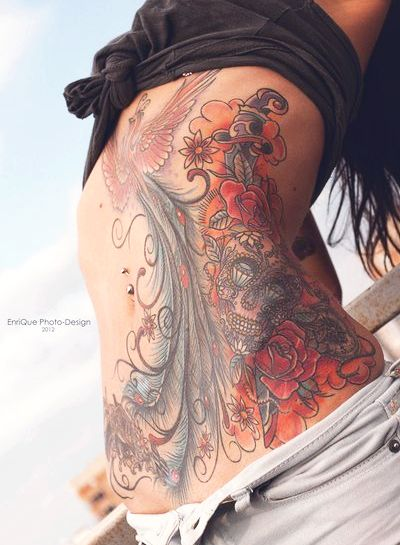 stretch mark cover up?  peacock stomach tattoo | Amazing Tattoo Ideas: Peacock Tattoo Back
