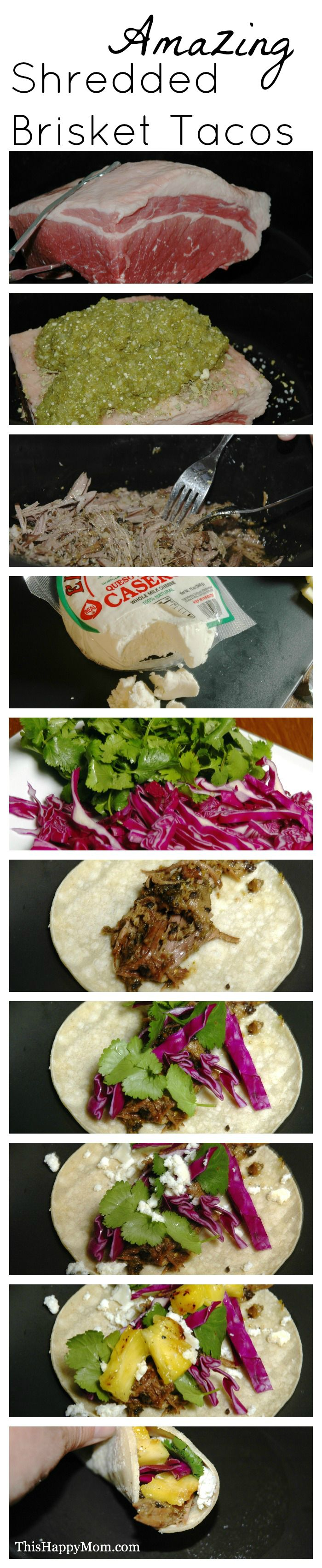 Amazing Shredded Brisket Tacos. Super easy crockpot recipe.