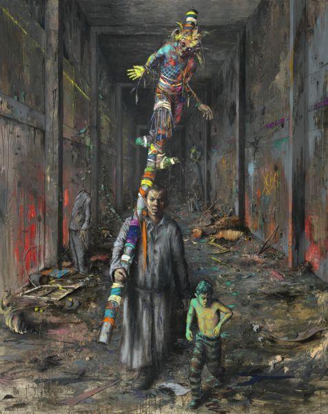 Jonas Burgert - Title: Kaltlauf - 2010, Oil on canvas - 300 x 240